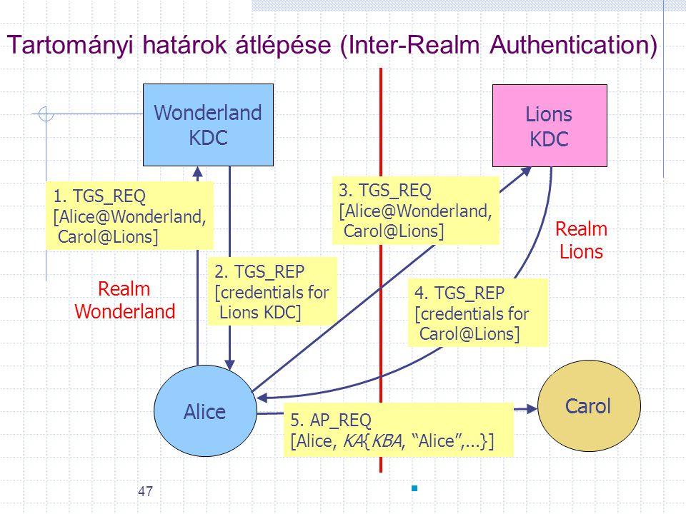 47 Tartományi határok átlépése (Inter-Realm Authentication) Alice Wonderland KDC Lions KDC 2. TGS_REP [credentials for Lions KDC] Carol 4. TGS_REP [cr