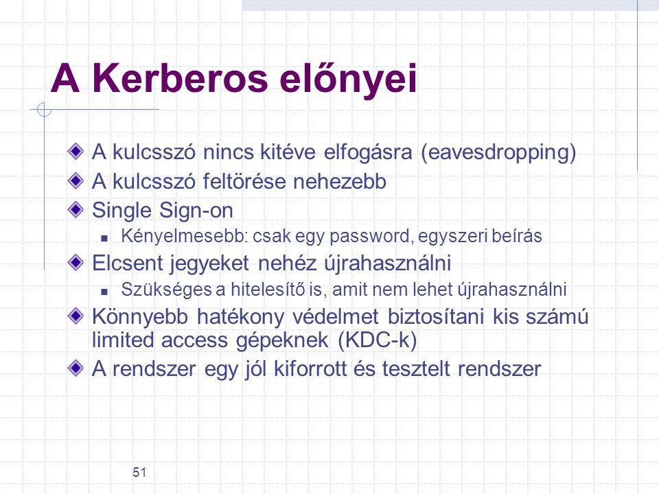 51 A Kerberos előnyei A kulcsszó nincs kitéve elfogásra (eavesdropping) A kulcsszó feltörése nehezebb Single Sign-on Kényelmesebb: csak egy password,