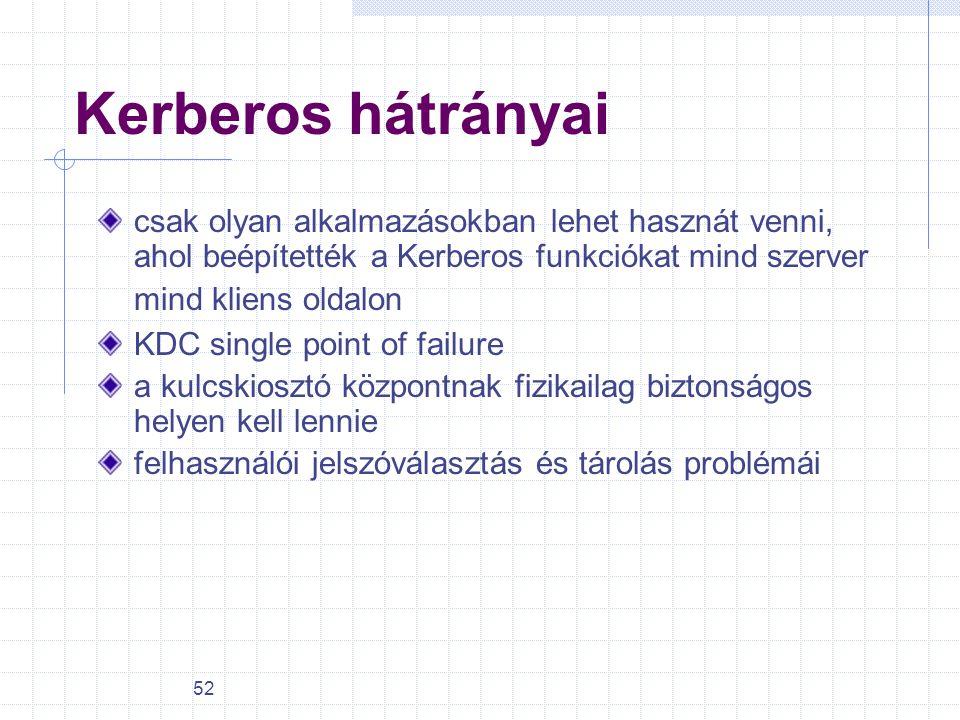 52 Kerberos hátrányai csak olyan alkalmazásokban lehet hasznát venni, ahol beépítették a Kerberos funkciókat mind szerver mind kliens oldalon KDC sing