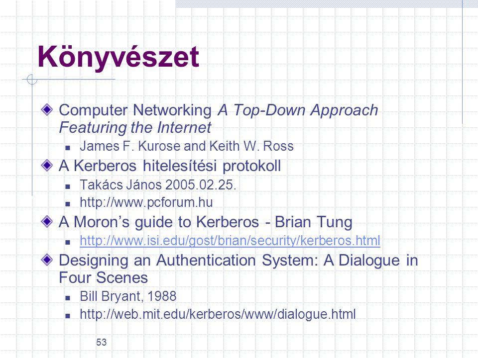53 Könyvészet Computer Networking A Top-Down Approach Featuring the Internet James F. Kurose and Keith W. Ross A Kerberos hitelesítési protokoll Takác