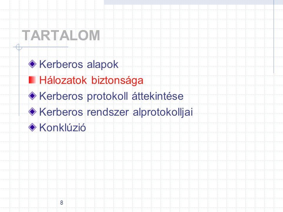 8 TARTALOM Kerberos alapok Hálozatok biztonsága Kerberos protokoll áttekintése Kerberos rendszer alprotokolljai Konklúzió