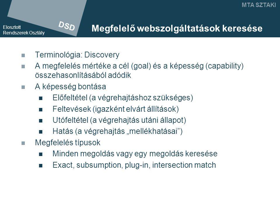 """DSD Elosztott Rendszerek Osztály MTA SZTAKI Megfelelő webszolgáltatások keresése Terminológia: Discovery A megfelelés mértéke a cél (goal) és a képesség (capability) összehasonlításából adódik A képesség bontása Előfeltétel (a végrehajtáshoz szükséges) Feltevések (igazként elvárt állítások) Utófeltétel (a végrehajtás utáni állapot) Hatás (a végrehajtás """"mellékhatásai ) Megfelelés típusok Minden megoldás vagy egy megoldás keresése Exact, subsumption, plug-in, intersection match"""