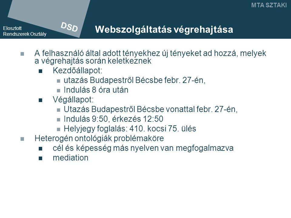 DSD Elosztott Rendszerek Osztály MTA SZTAKI Webszolgáltatás végrehajtása A felhasználó által adott tényekhez új tényeket ad hozzá, melyek a végrehajtás során keletkeznek Kezdőállapot: utazás Budapestről Bécsbe febr.