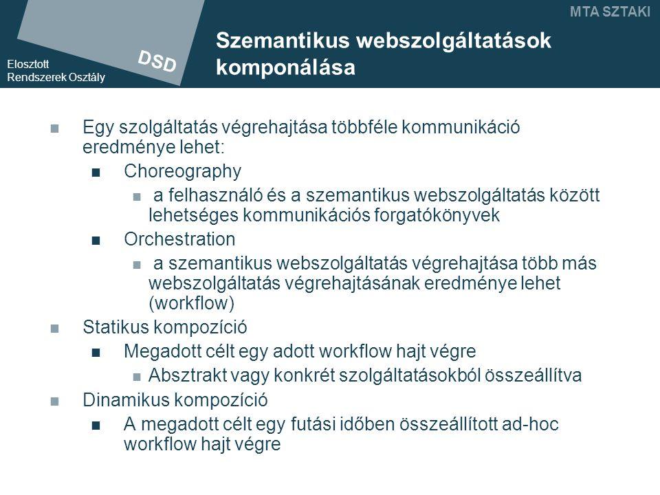 DSD Elosztott Rendszerek Osztály MTA SZTAKI Szemantikus webszolgáltatások komponálása Egy szolgáltatás végrehajtása többféle kommunikáció eredménye lehet: Choreography a felhasználó és a szemantikus webszolgáltatás között lehetséges kommunikációs forgatókönyvek Orchestration a szemantikus webszolgáltatás végrehajtása több más webszolgáltatás végrehajtásának eredménye lehet (workflow) Statikus kompozíció Megadott célt egy adott workflow hajt végre Absztrakt vagy konkrét szolgáltatásokból összeállítva Dinamikus kompozíció A megadott célt egy futási időben összeállított ad-hoc workflow hajt végre