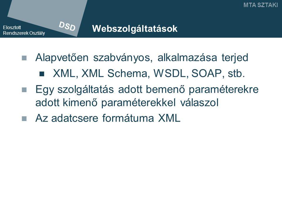 DSD Elosztott Rendszerek Osztály MTA SZTAKI Webszolgáltatások Alapvetően szabványos, alkalmazása terjed XML, XML Schema, WSDL, SOAP, stb.
