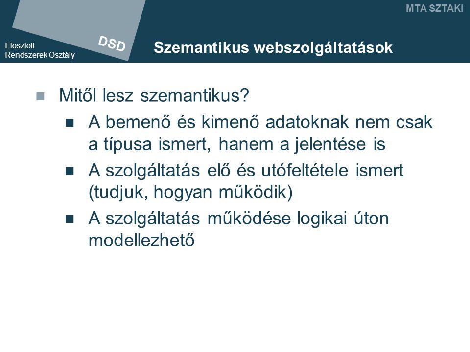 DSD Elosztott Rendszerek Osztály MTA SZTAKI Szemantikus webszolgáltatások Mitől lesz szemantikus.