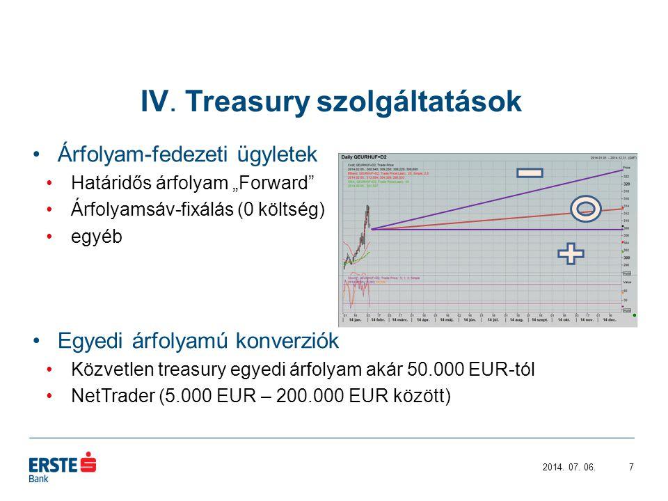 IV. Treasury szolgáltatások 2014. 07.