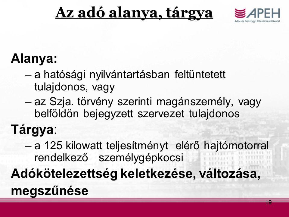 19 Az adó alanya, tárgya Alanya: –a hatósági nyilvántartásban feltüntetett tulajdonos, vagy –az Szja. törvény szerinti magánszemély, vagy belföldön be