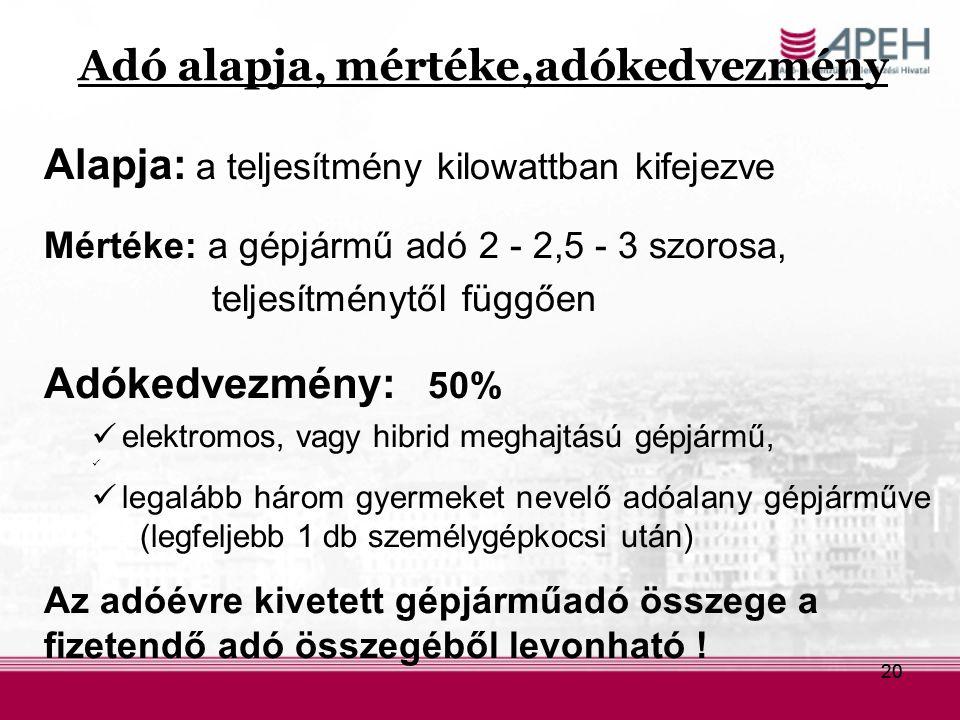 20 Adó alapja, mértéke,adókedvezmény Alapja: a teljesítmény kilowattban kifejezve Mértéke: a gépjármű adó 2 - 2,5 - 3 szorosa, teljesítménytől függően