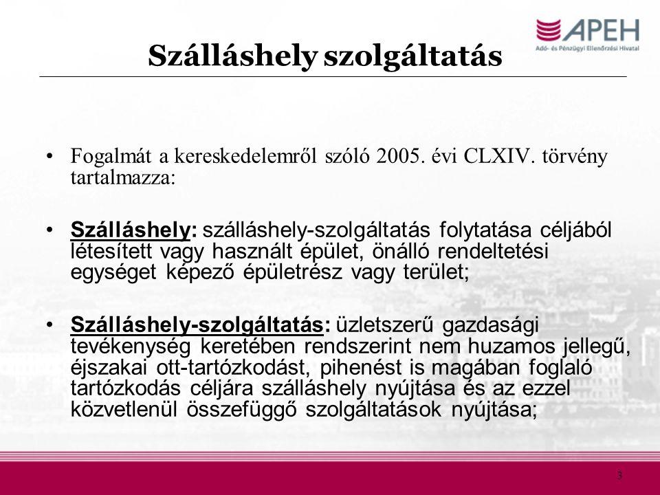 Szálláshely szolgáltatás Fogalmát a kereskedelemről szóló 2005. évi CLXIV. törvény tartalmazza: Szálláshely: szálláshely-szolgáltatás folytatása céljá
