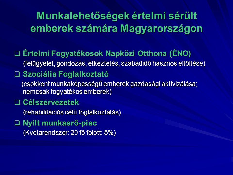 Munkalehetőségek értelmi sérült emberek számára Magyarországon  Értelmi Fogyatékosok Napközi Otthona (ÉNO) (felügyelet, gondozás, étkeztetés, szabadidő hasznos eltöltése) (felügyelet, gondozás, étkeztetés, szabadidő hasznos eltöltése)  Szociális Foglalkoztató (csökkent munkaképességű emberek gazdasági aktivizálása; nemcsak fogyatékos emberek) (csökkent munkaképességű emberek gazdasági aktivizálása; nemcsak fogyatékos emberek)  Célszervezetek (rehabilitációs célú foglalkoztatás) (rehabilitációs célú foglalkoztatás)  Nyílt munkaerő-piac (Kvótarendszer: 20 fő fölött: 5%) (Kvótarendszer: 20 fő fölött: 5%)