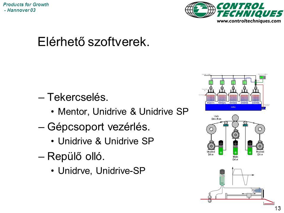 13 Products for Growth - Hannover 03 Elérhető szoftverek. –Tekercselés. Mentor, Unidrive & Unidrive SP –Gépcsoport vezérlés. Unidrive & Unidrive SP –R