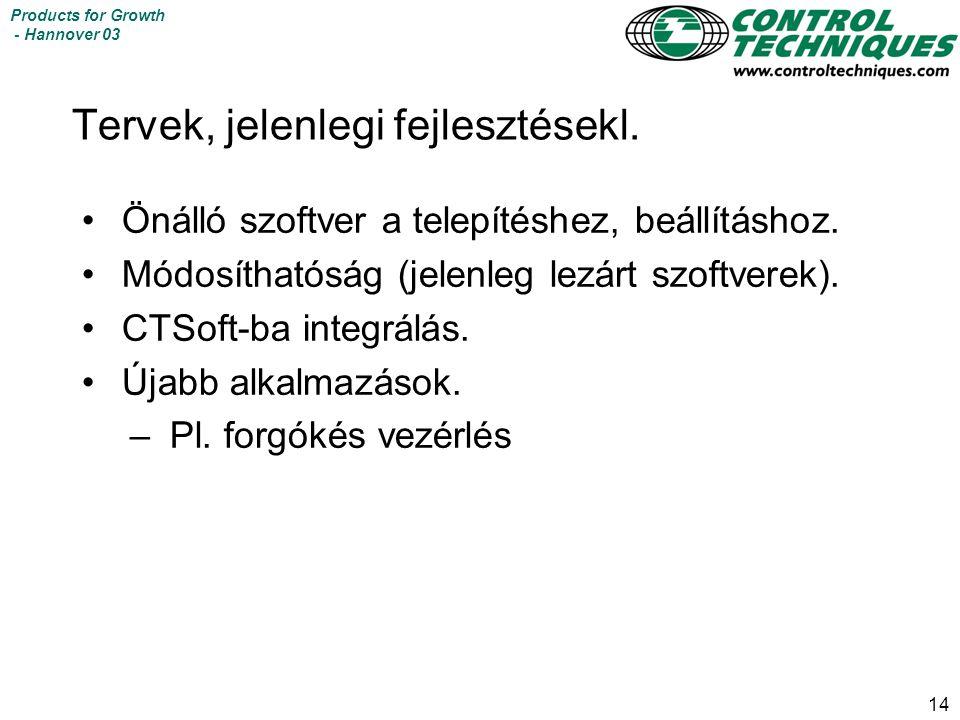 14 Products for Growth - Hannover 03 Tervek, jelenlegi fejlesztésekl.
