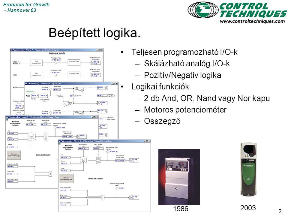 2 Products for Growth - Hannover 03 Beépített logika. Teljesen programozható I/O-k –Skálázható analóg I/O-k –Pozitív/Negatív logika Logikai funkciók –