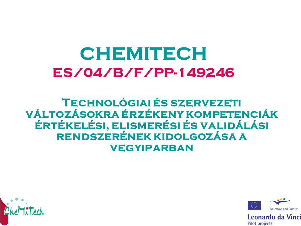 CHEMITECH ES/04/B/F/PP-149246 Technológiai és szervezeti változásokra érzékeny kompetenciák értékelési, elismerési és validálási rendszerének kidolgozása a vegyiparban