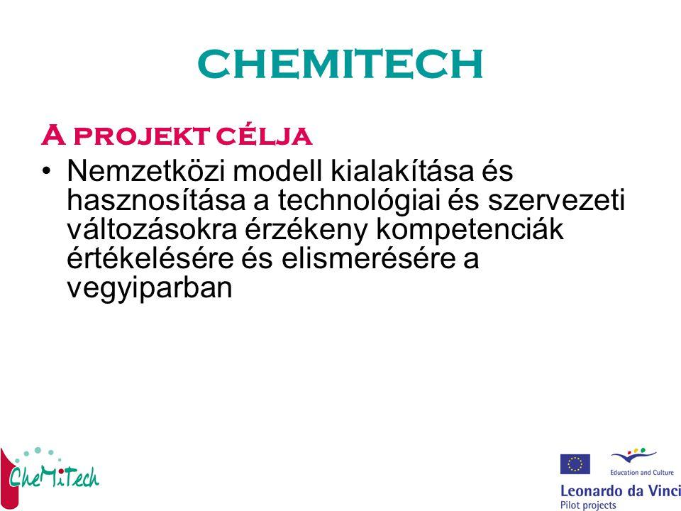 CHEMITECH A projekt célja Nemzetközi modell kialakítása és hasznosítása a technológiai és szervezeti változásokra érzékeny kompetenciák értékelésére és elismerésére a vegyiparban