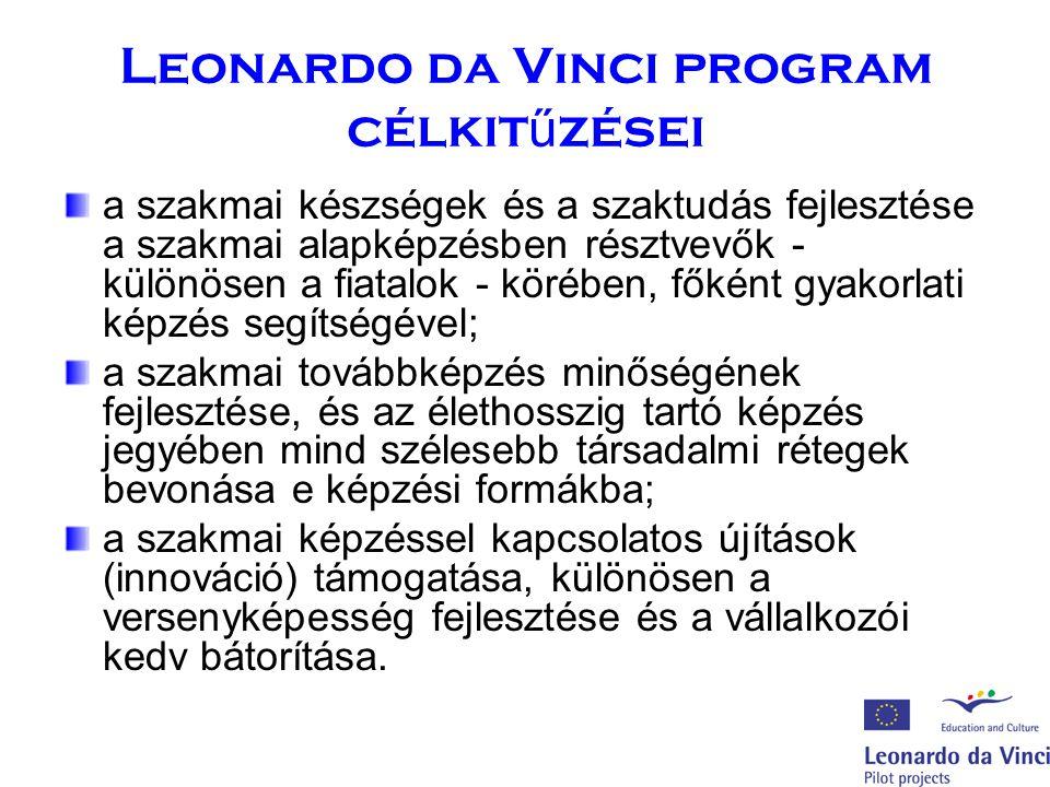 Leonardo da Vinci program célkit ű zései a szakmai készségek és a szaktudás fejlesztése a szakmai alapképzésben résztvevők - különösen a fiatalok - körében, főként gyakorlati képzés segítségével; a szakmai továbbképzés minőségének fejlesztése, és az élethosszig tartó képzés jegyében mind szélesebb társadalmi rétegek bevonása e képzési formákba; a szakmai képzéssel kapcsolatos újítások (innováció) támogatása, különösen a versenyképesség fejlesztése és a vállalkozói kedv bátorítása.