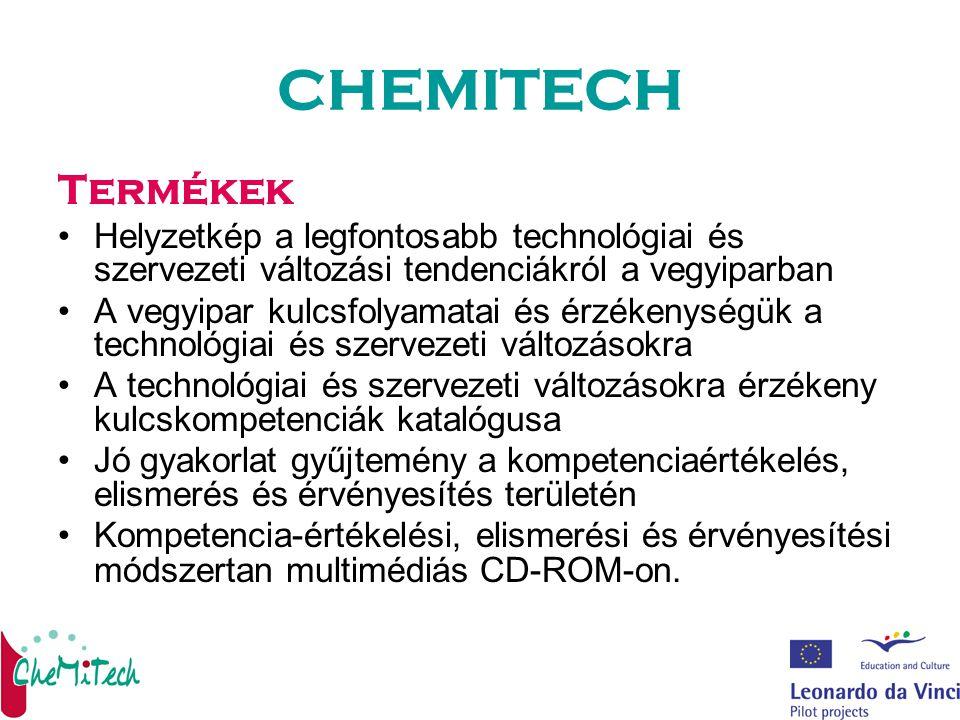 CHEMITECH Termékek Helyzetkép a legfontosabb technológiai és szervezeti változási tendenciákról a vegyiparban A vegyipar kulcsfolyamatai és érzékenységük a technológiai és szervezeti változásokra A technológiai és szervezeti változásokra érzékeny kulcskompetenciák katalógusa Jó gyakorlat gyűjtemény a kompetenciaértékelés, elismerés és érvényesítés területén Kompetencia-értékelési, elismerési és érvényesítési módszertan multimédiás CD-ROM-on.