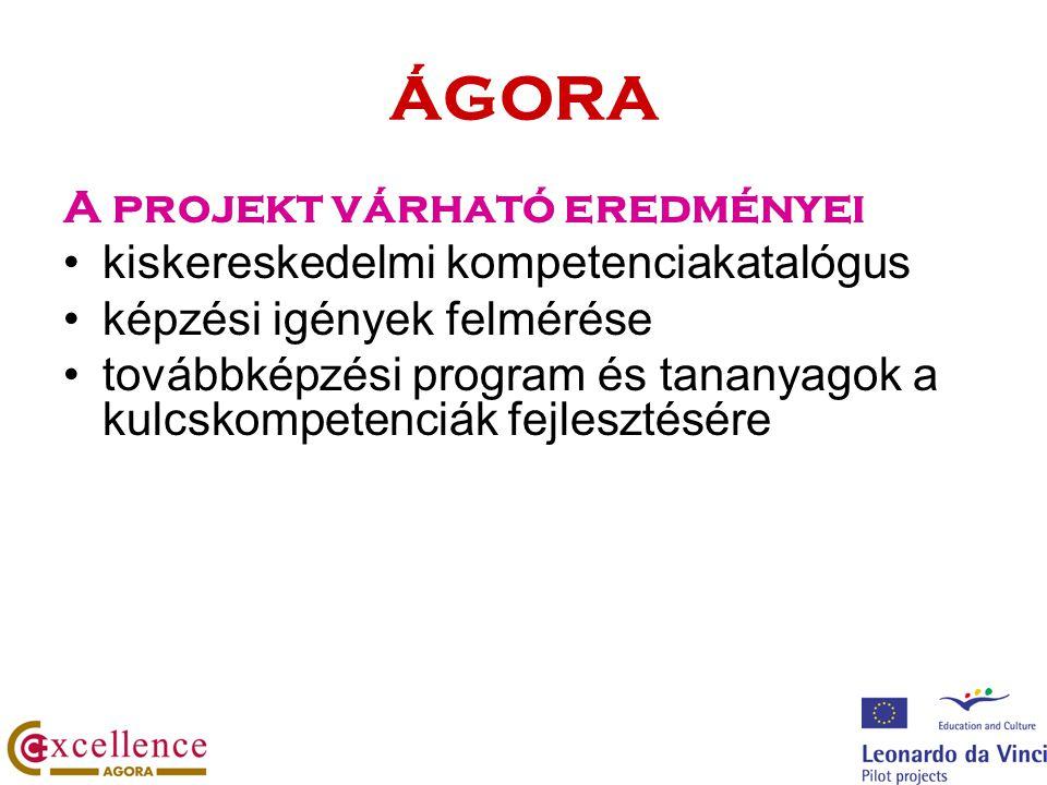 ÁGORA A projekt várható eredményei kiskereskedelmi kompetenciakatalógus képzési igények felmérése továbbképzési program és tananyagok a kulcskompetenc