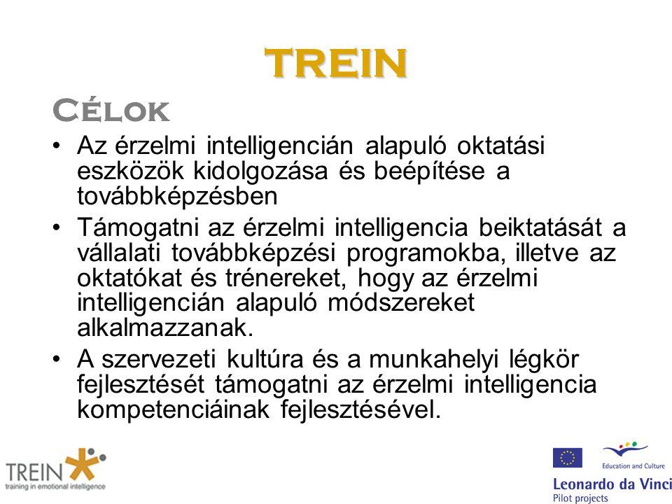 TREIN Célok Az érzelmi intelligencián alapuló oktatási eszközök kidolgozása és beépítése a továbbképzésben Támogatni az érzelmi intelligencia beiktatását a vállalati továbbképzési programokba, illetve az oktatókat és trénereket, hogy az érzelmi intelligencián alapuló módszereket alkalmazzanak.