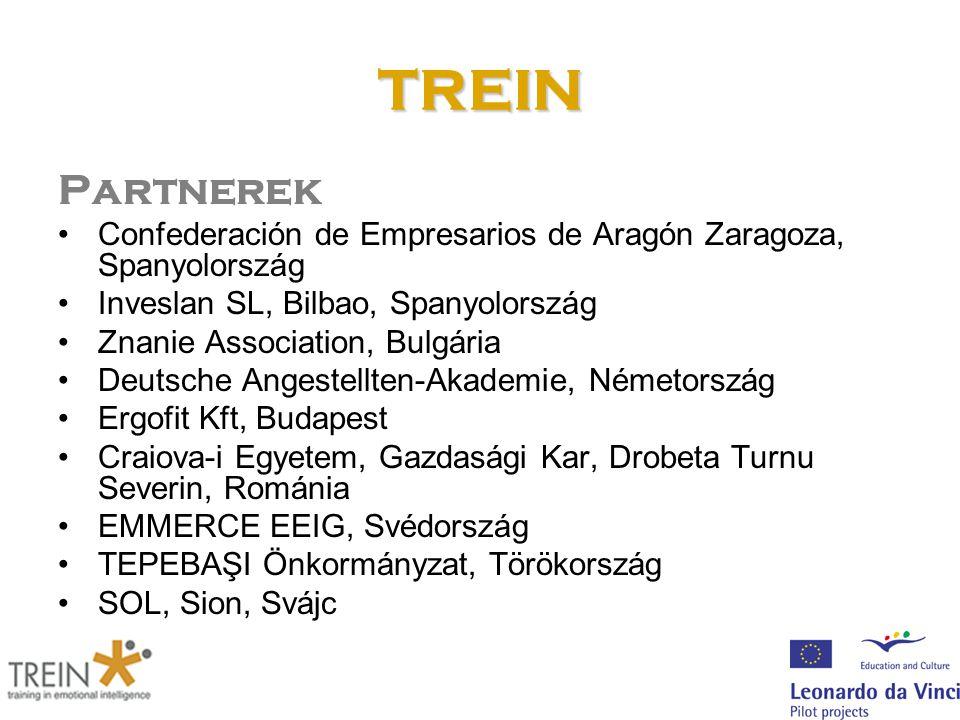 TREIN Partnerek Confederación de Empresarios de Aragón Zaragoza, Spanyolország Inveslan SL, Bilbao, Spanyolország Znanie Association, Bulgária Deutsch