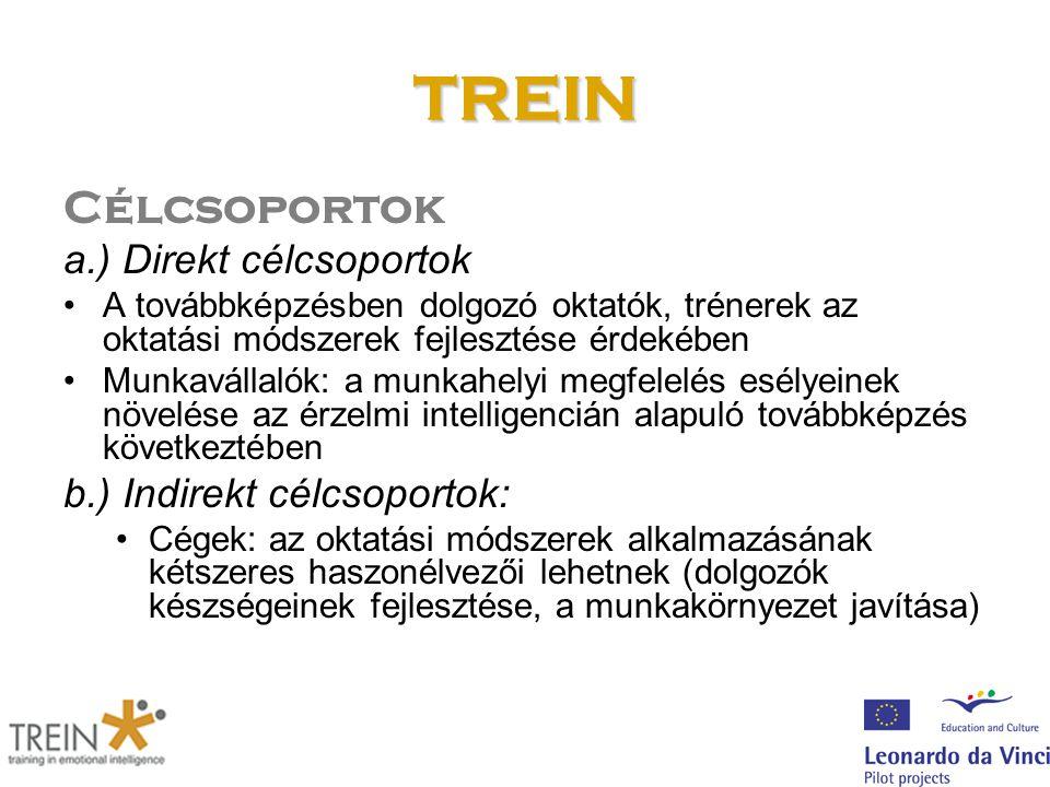 TREIN Célcsoportok a.) Direkt célcsoportok A továbbképzésben dolgozó oktatók, trénerek az oktatási módszerek fejlesztése érdekében Munkavállalók: a mu
