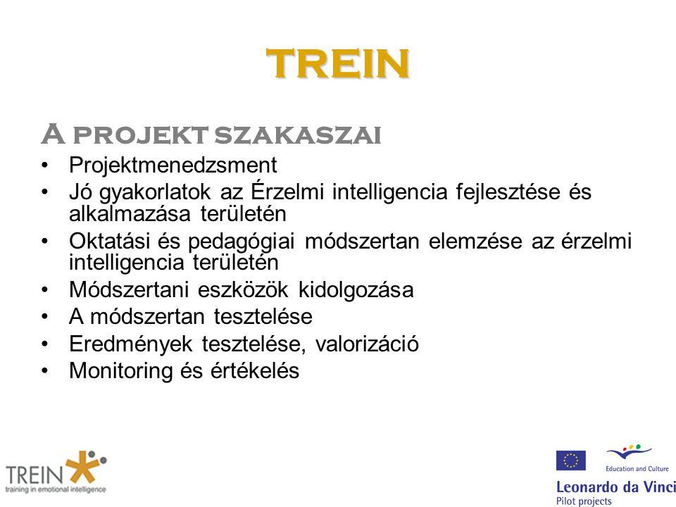 TREIN A projekt szakaszai Projektmenedzsment Jó gyakorlatok az Érzelmi intelligencia fejlesztése és alkalmazása területén Oktatási és pedagógiai módszertan elemzése az érzelmi intelligencia területén Módszertani eszközök kidolgozása A módszertan tesztelése Eredmények tesztelése, valorizáció Monitoring és értékelés