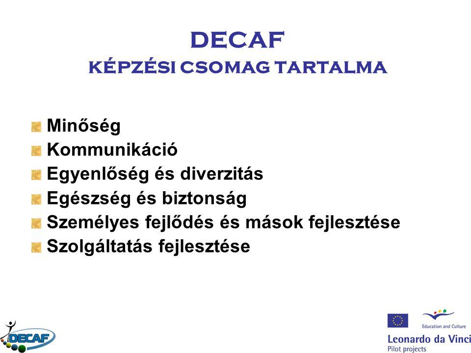DECAF képzési csomag tartalma Minőség Kommunikáció Egyenlőség és diverzitás Egészség és biztonság Személyes fejlődés és mások fejlesztése Szolgáltatás fejlesztése