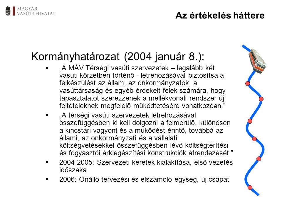 """Kormányhatározat (2004 január 8.):  """"A MÁV Térségi vasúti szervezetek – legalább két vasúti körzetben történő - létrehozásával biztosítsa a felkészül"""