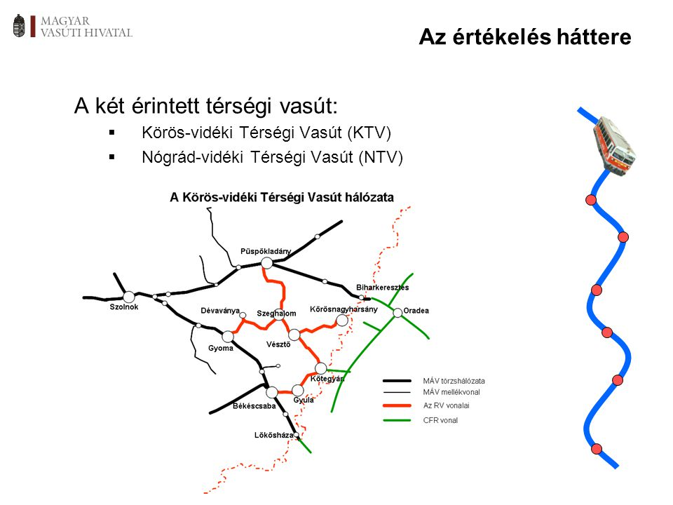 Az értékelés háttere A két érintett térségi vasút:  Körös-vidéki Térségi Vasút (KTV)  Nógrád-vidéki Térségi Vasút (NTV)