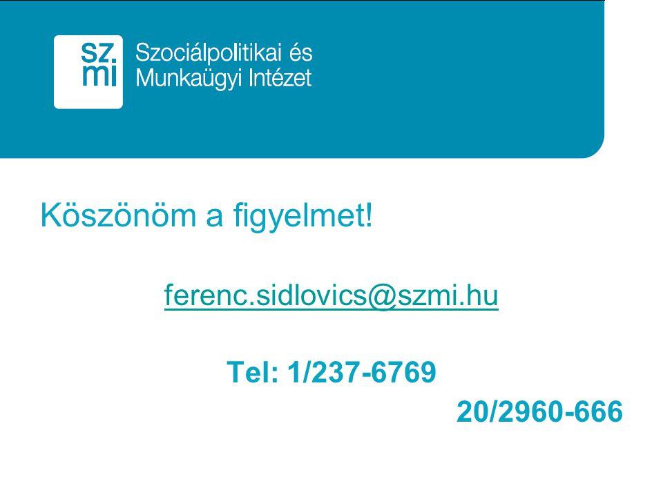 Köszönöm a figyelmet! ferenc.sidlovics@szmi.hu Tel: 1/237-6769 20/2960-666