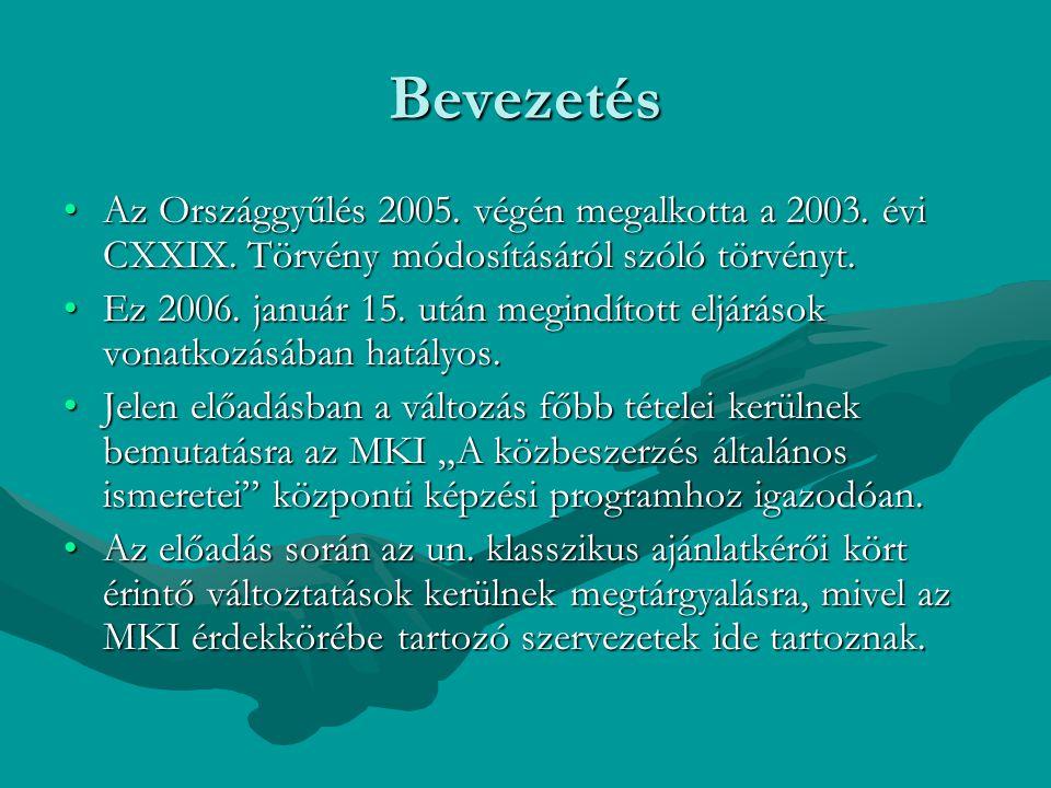 Bevezetés Az Országgyűlés 2005. végén megalkotta a 2003. évi CXXIX. Törvény módosításáról szóló törvényt.Az Országgyűlés 2005. végén megalkotta a 2003