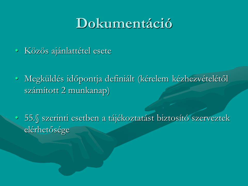 Dokumentáció Közös ajánlattétel eseteKözös ajánlattétel esete Megküldés időpontja definiált (kérelem kézhezvételétől számított 2 munkanap)Megküldés id