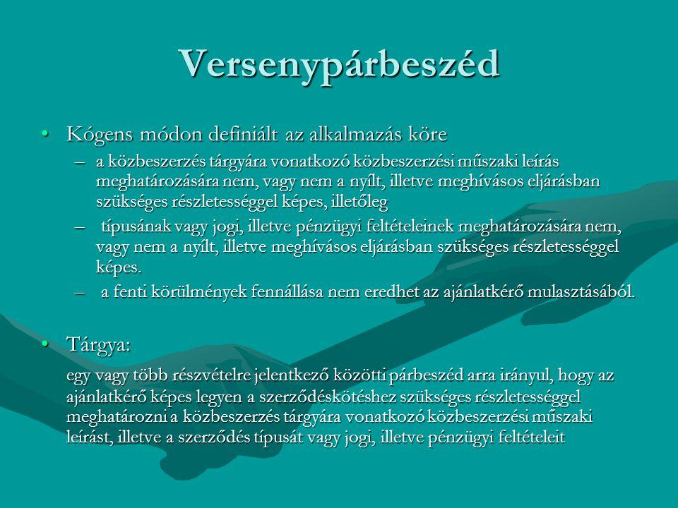 Versenypárbeszéd Kógens módon definiált az alkalmazás köreKógens módon definiált az alkalmazás köre –a közbeszerzés tárgyára vonatkozó közbeszerzési m
