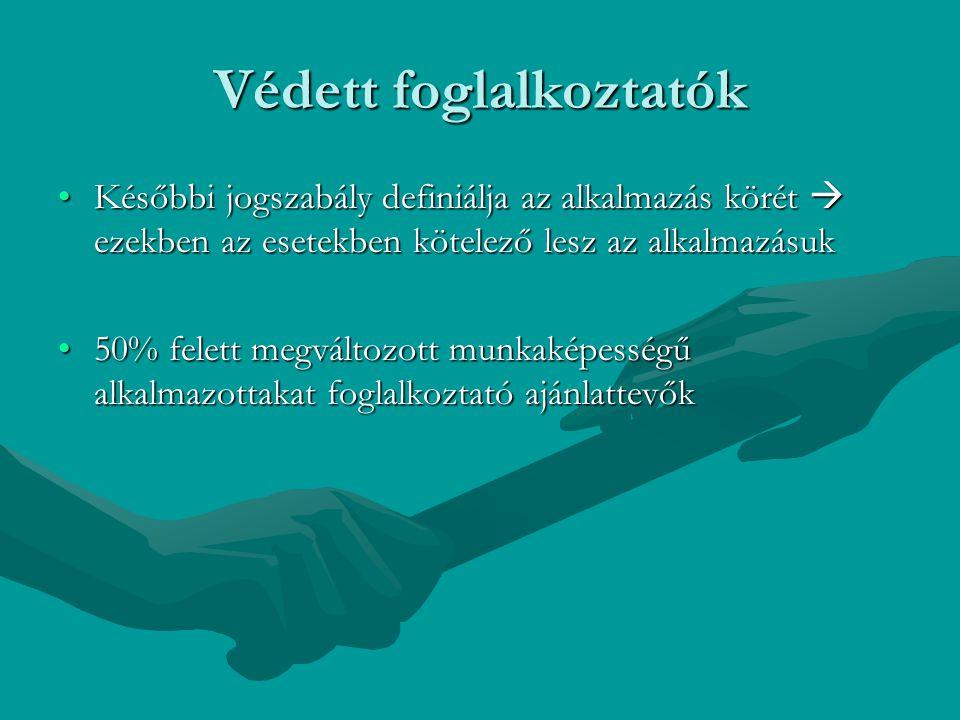 Védett foglalkoztatók Későbbi jogszabály definiálja az alkalmazás körét  ezekben az esetekben kötelező lesz az alkalmazásukKésőbbi jogszabály definiá