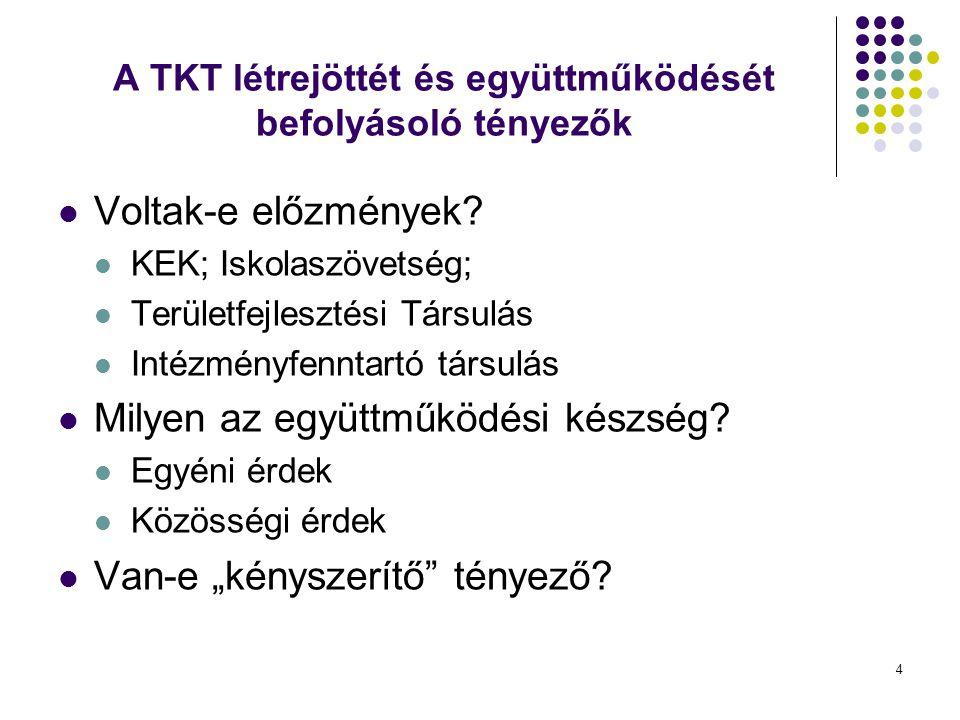 4 A TKT létrejöttét és együttműködését befolyásoló tényezők Voltak-e előzmények.