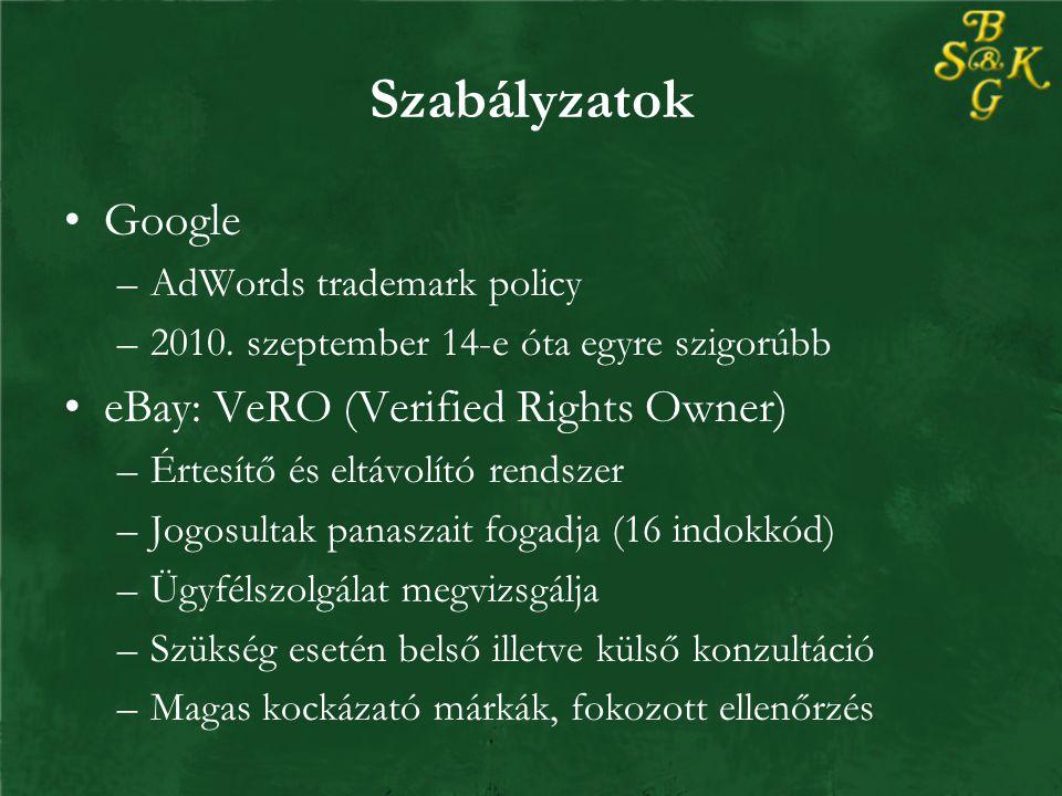 Szabályzatok Google –AdWords trademark policy –2010.