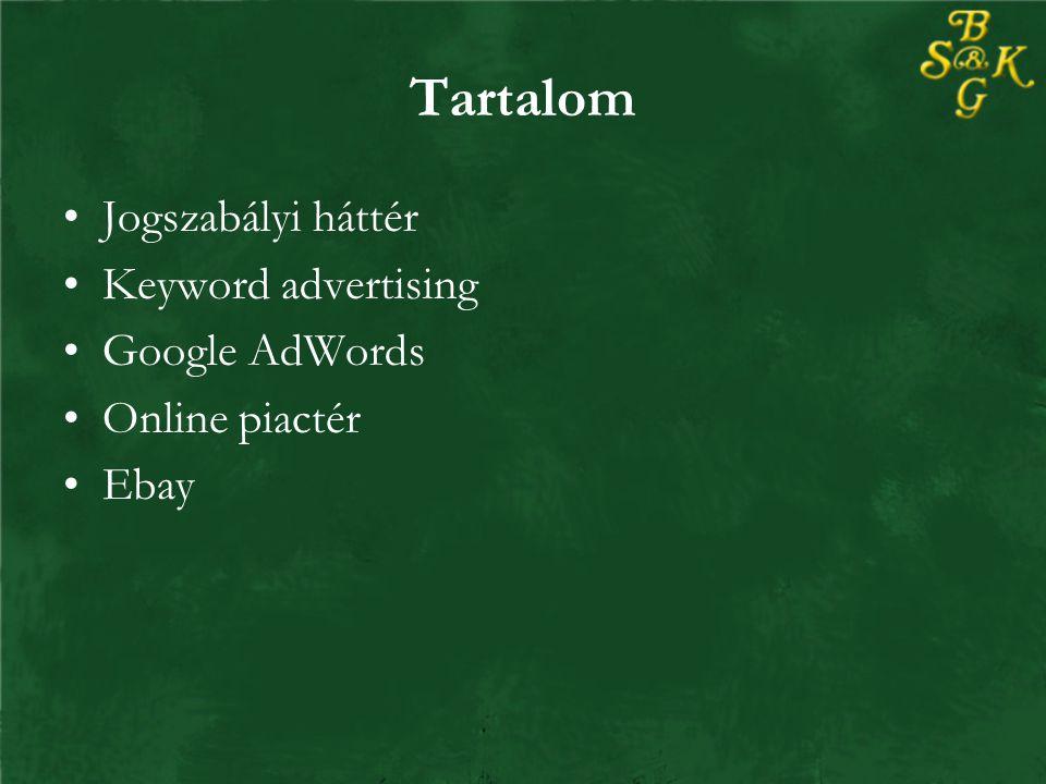 Tartalom Jogszabályi háttér Keyword advertising Google AdWords Online piactér Ebay