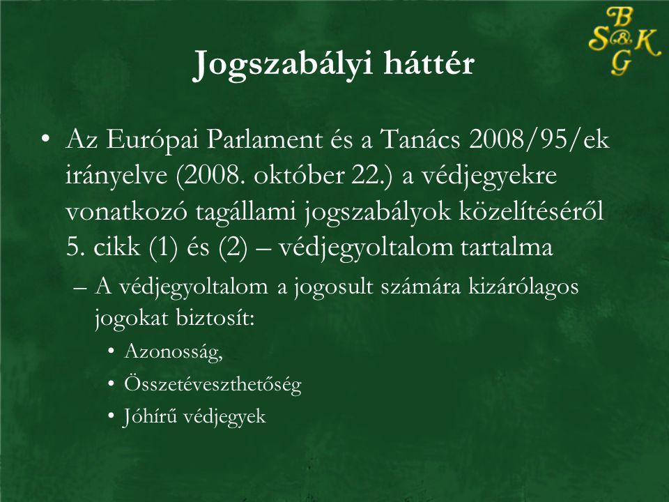 Jogszabályi háttér Az Európai Parlament és a Tanács 2008/95/ek irányelve (2008.