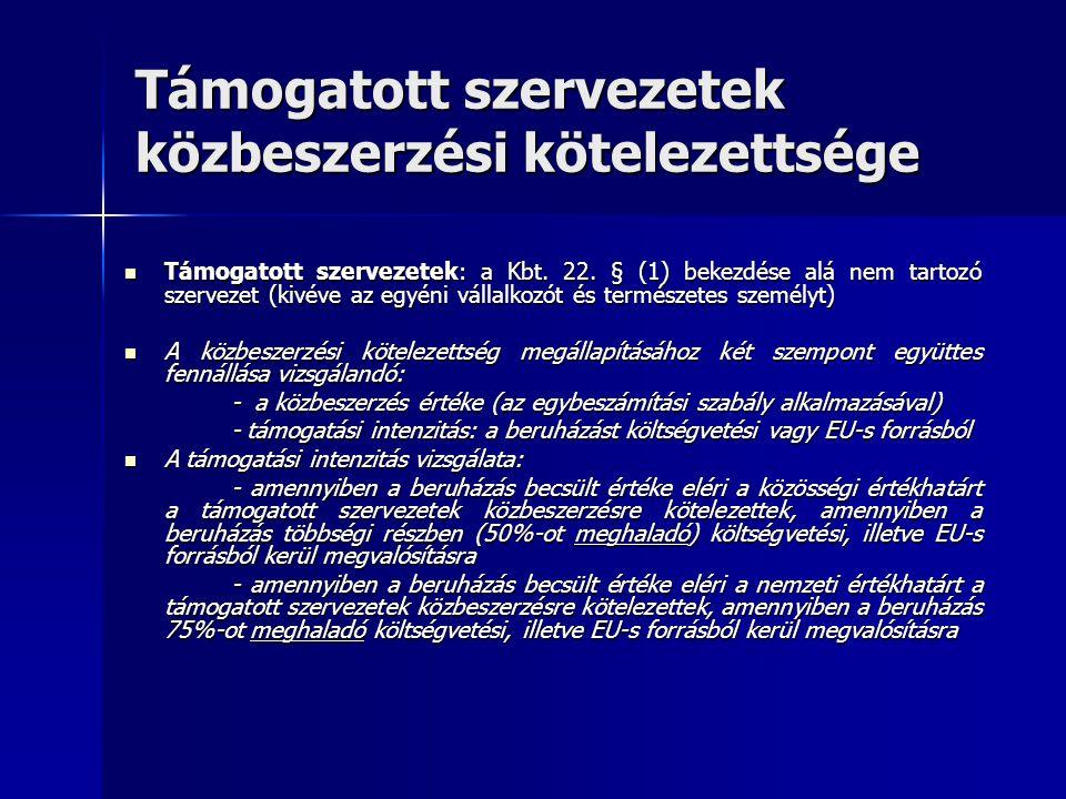 Támogatott szervezetek közbeszerzési kötelezettsége Támogatott szervezetek: a Kbt. 22. § (1) bekezdése alá nem tartozó szervezet (kivéve az egyéni vál