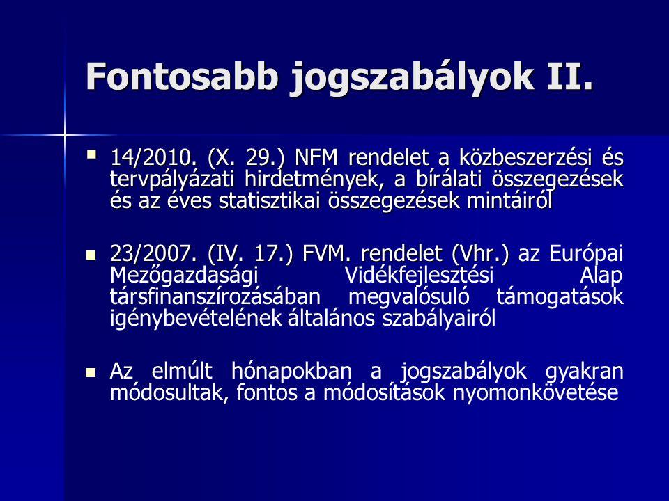 Fontosabb jogszabályok II.  14/2010. (X. 29.) NFM rendelet a közbeszerzési és tervpályázati hirdetmények, a bírálati összegezések és az éves statiszt