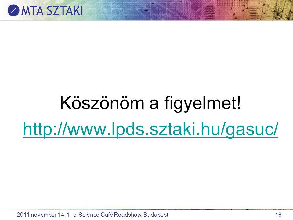 16 2011 november 14. 1. e-Science Café Roadshow, Budapest Köszönöm a figyelmet.
