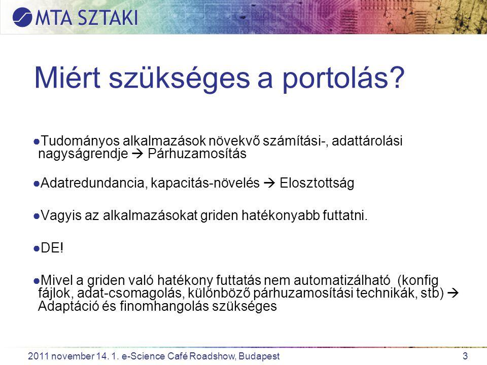 3 2011 november 14. 1. e-Science Café Roadshow, Budapest Miért szükséges a portolás? ●Tudományos alkalmazások növekvő számítási-, adattárolási nagyság