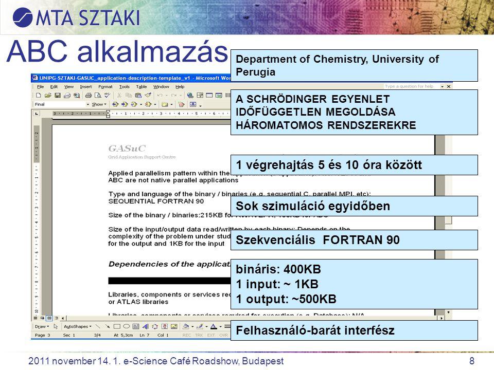 8 2011 november 14. 1. e-Science Café Roadshow, Budapest ABC alkalmazás Department of Chemistry, University of Perugia A SCHRÖDINGER EGYENLET IDŐFÜGGE