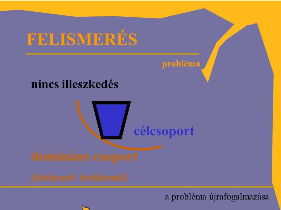 FELISMERÉS a probléma újrafogalmazása probléma nincs illeszkedés célcsoport domináns csoport (tételezett értékrend)