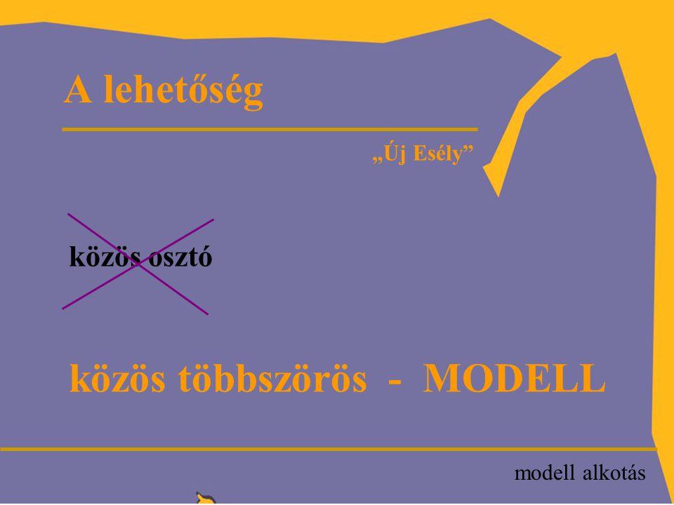 """A modellalkotás fázisai """"Új Esély modell  Probléma/igény  Szolgáltatás  Célcsoport/kedvezményezettek  Sikerkritériumok  Struktúra  Szupport"""