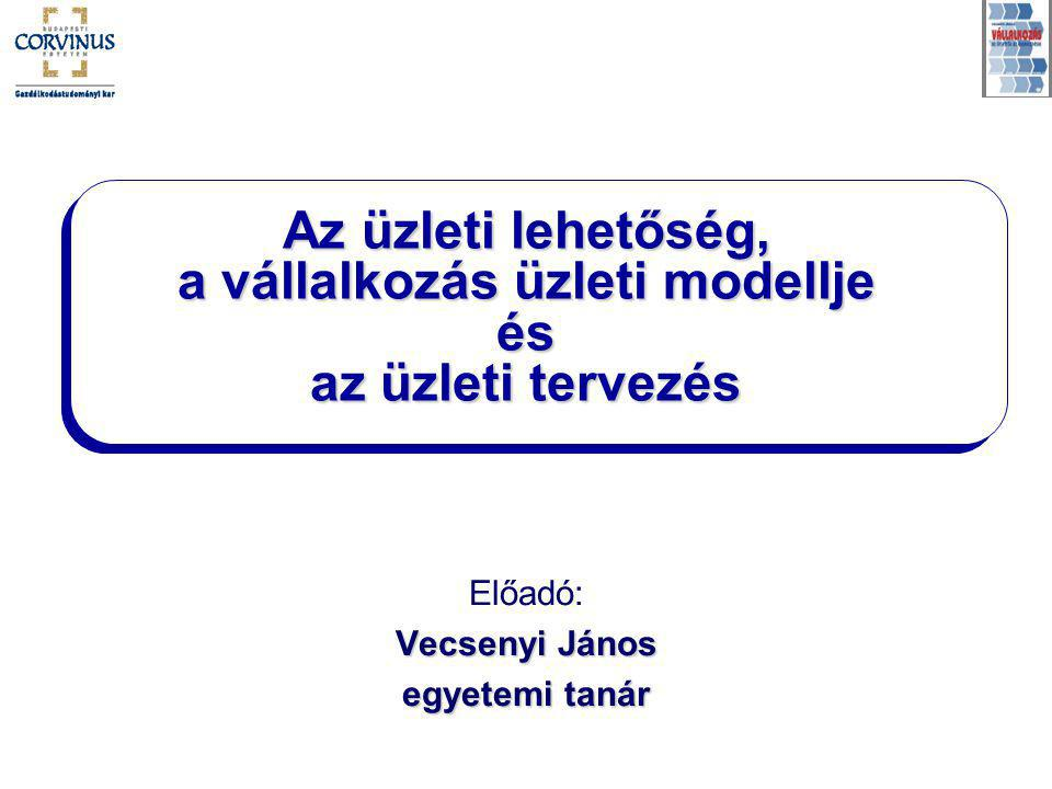 Az üzleti lehetőség, a vállalkozás üzleti modellje és az üzleti tervezés Előadó: Vecsenyi János egyetemi tanár