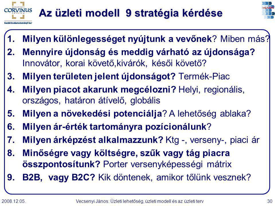 2008.12.05.Vecsenyi János: Üzleti lehetőség, üzleti modell és az üzleti terv30 Az üzleti modell 9 stratégia kérdése 1.Milyen különlegességet nyújtunk