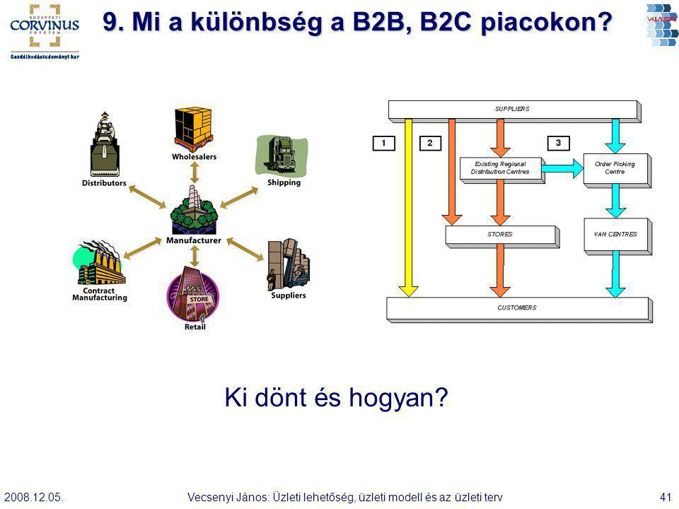 2008.12.05.Vecsenyi János: Üzleti lehetőség, üzleti modell és az üzleti terv41 9. Mi a különbség a B2B, B2C piacokon? Ki dönt és hogyan?