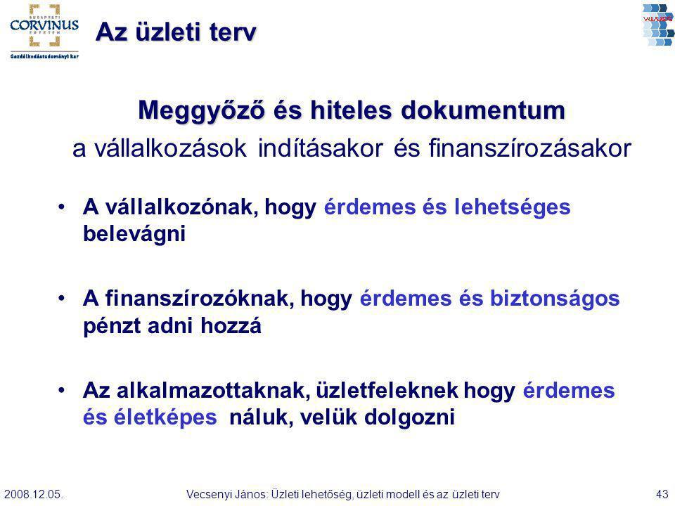 2008.12.05.Vecsenyi János: Üzleti lehetőség, üzleti modell és az üzleti terv43 Az üzleti terv Meggyőző és hiteles dokumentum a vállalkozások indításak